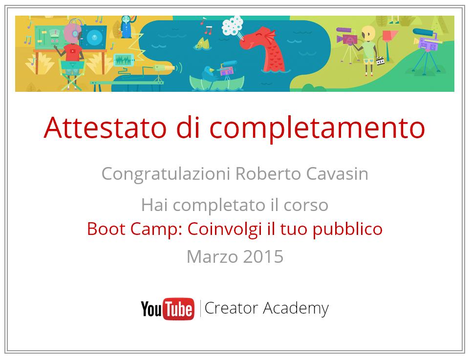 Attestato Corso Youtube Academy