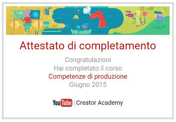 Competenze di produzione della Creator Academy di YouTube