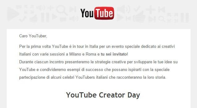 Invito YouTube Creator Day Italia