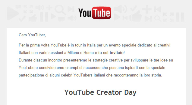 Invito YouTube Creator Day Italia