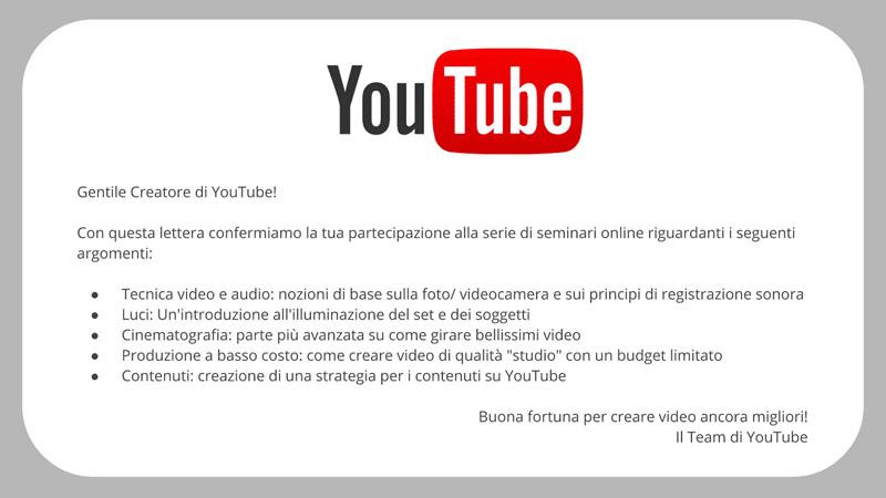 Corso produzione di video online Youtube