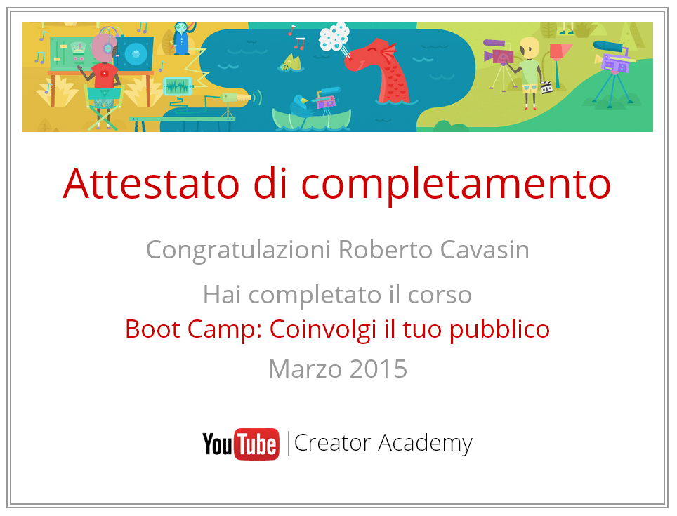 Attestato Corso Youtube Academy