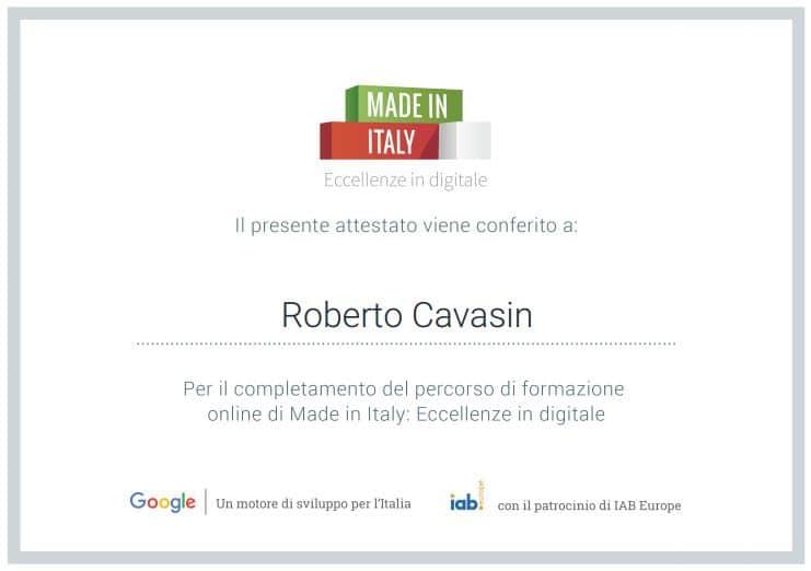 Attestato formazione digitale di Google