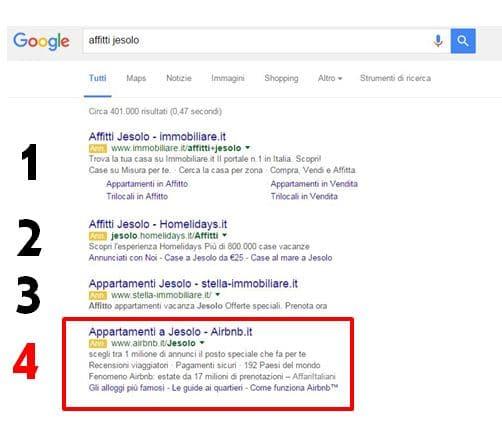 4 Annunci Google Adwords