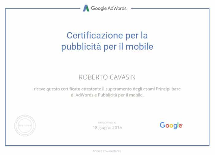 Certificazione per la pubblicità per il mobile