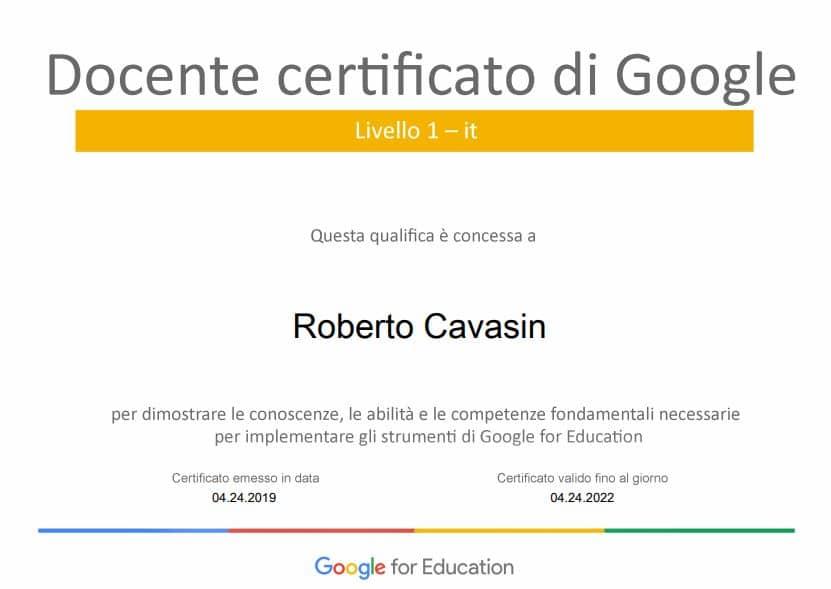 Docente certificato di Google, livello 1