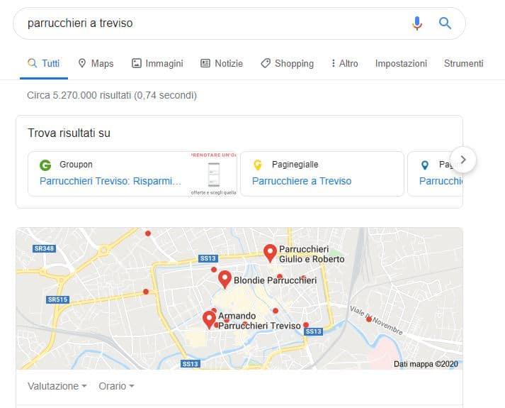 Da pochi giorni sono comparsi dei nuovi pulsanti che puntano a delle directory e visualizzati sopra la mappa a fronte di una ricerca Locale su google.