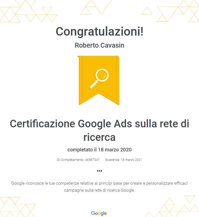Certificazione Google Ads sulla rete di ricerca